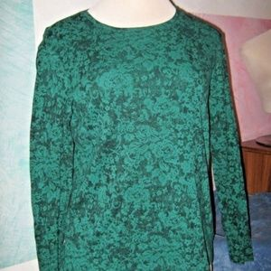Kelly Green & Black Floral Long Sleeve Stretch Top